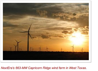 NextEra's 663-MW Capricorn Ridge wind farm in West Texas.