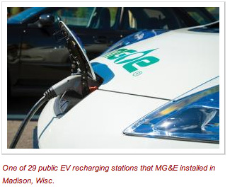 One of 29 public EV recharging stations that MG&E installed in Madison, Wisc.